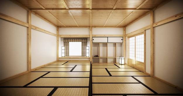 Design de interiores, sala de estar moderna com tatame e porta japonesa tradicional na melhor vista da janela. renderização em 3d