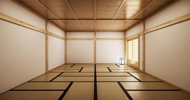 Design de interiores, sala de estar moderna sala vazia com mesa, piso de tatame. renderização 3d