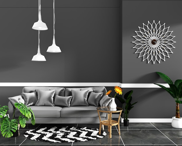 Design de interiores sala vazia parede preta e piso de ladrilho de granito mock up. renderização 3d