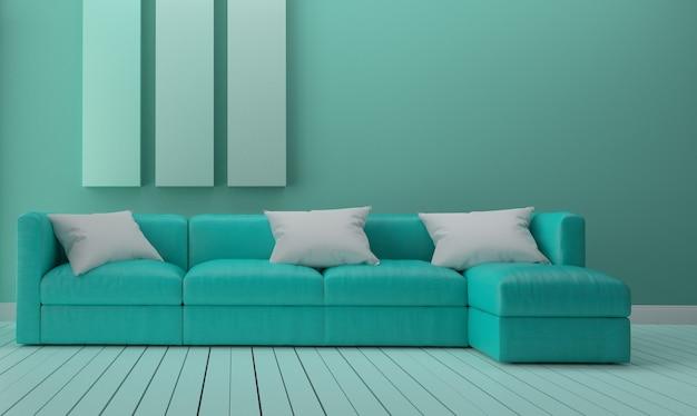 Design de interiores verde da sala de hortelã. renderização 3d