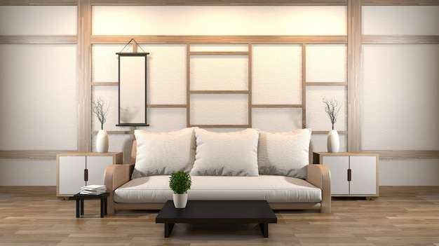 Design de interiores zen sala de estar com mesa baixa, travesseiro, frame, lâmpada no assoalho de madeira