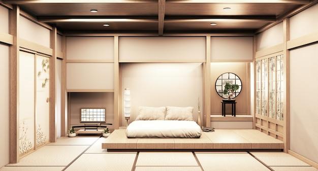 Design de madeira da janela de papel no quarto vazio branco no design de interiores japonês do piso de madeira. renderização 3d