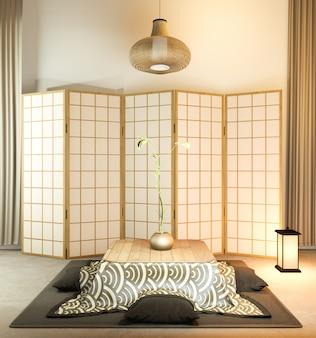 Design de madeira de papel de partição japonesa no piso de tatami da sala de estar.