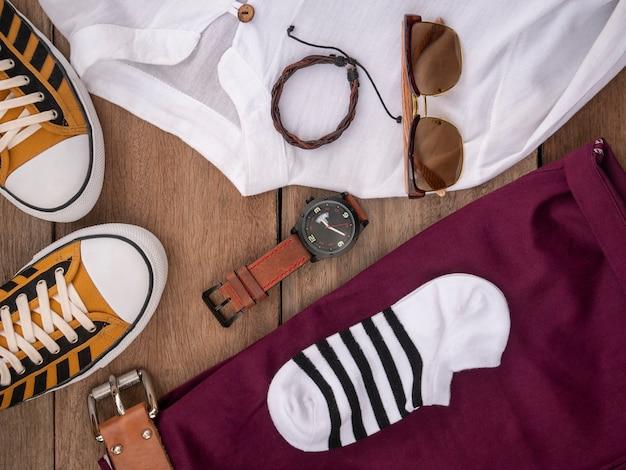 Design de moda criativa para homens conjunto de roupas casuais e acessórios