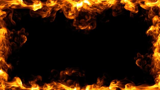 Design de moldura de fogo. ilustração 3d