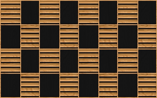 Design de padrão de moldura quadrada madeira marrom sem costura moderna na parede escura