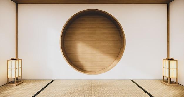Design de parede de prateleira circular em design japonês de sala de estar vazia