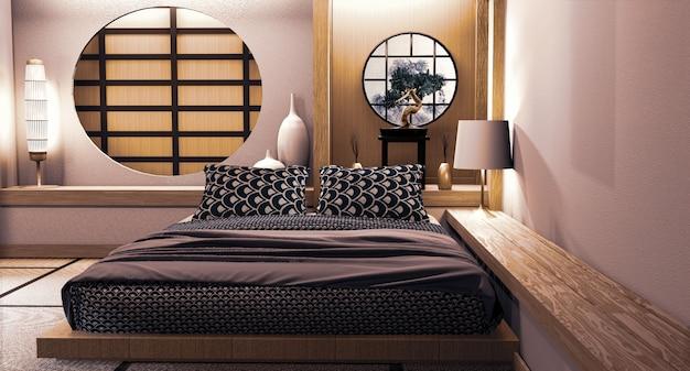 Design de parede japonesa de janela de círculo no estilo japonês de quarto. renderização 3d