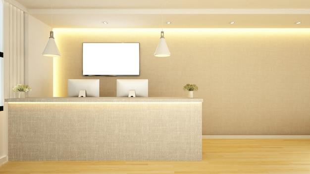 Design de recepção do contador - renderização em 3d