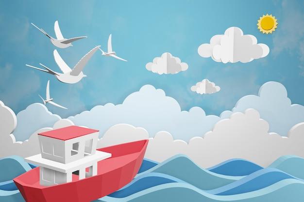 Design de renderização 3d, barco está navegando no mar sob a luz do sol.