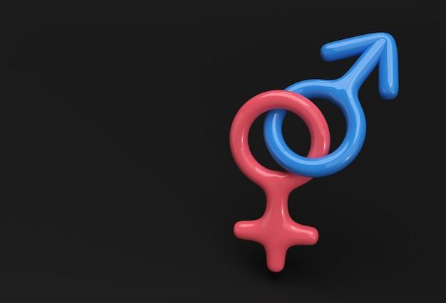 Design de renderização 3d da combinação de símbolos masculinos e femininos.