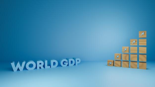Design de renderização 3d de madeira para negócios de crescimento de pib, finanças e economia.