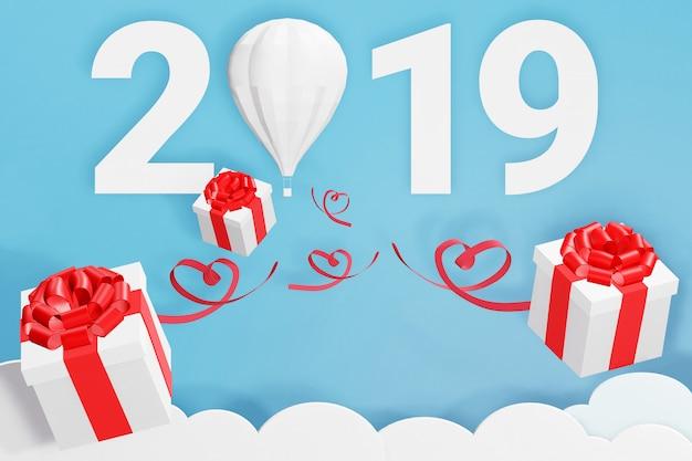 Design de renderização 3d, estilo de arte de papel de feliz ano novo 2019 e caixa de presente de dispersão de balão
