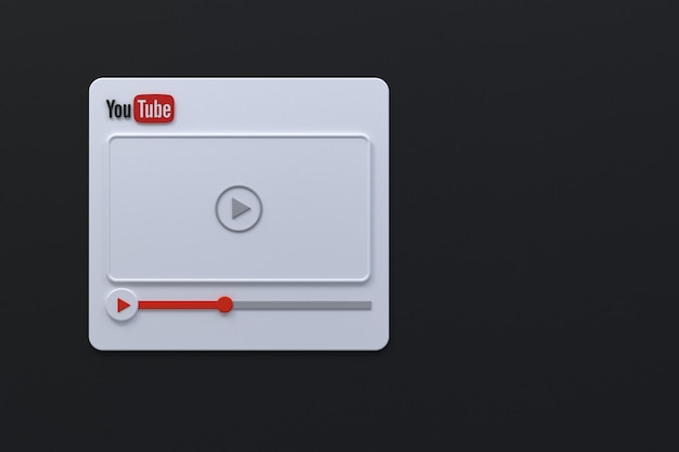 Design de tela 3d do player de vídeo do youtube ou interface do player de mídia