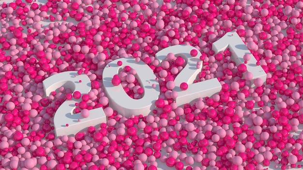 Design de tipografia branco 2021 bolas rosa brilhantes