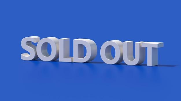 Design de tipografia esgotado branco. fundo azul. ilustração abstrata, renderização 3d.
