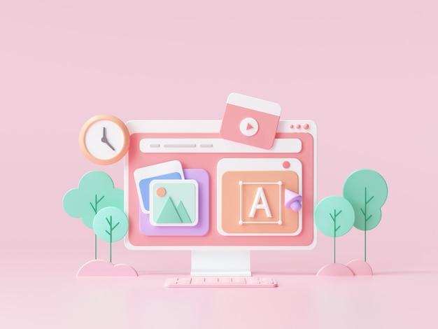 Design de ui-ux da web, conceito de desenvolvimento web. construção de sites e marketing de otimização de seo. ilustração 3d render