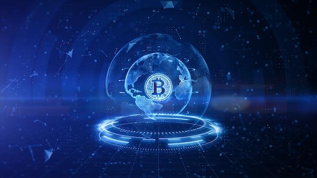 Design digital bitcoin com fundo azul