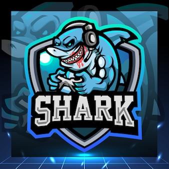 Design do logotipo do mascote do jogo shark