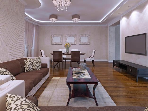 Design elegante da sala de estar em tons de creme e marrom. móveis de madeira escura, sofás de tecido na cor marrom. renderização 3d