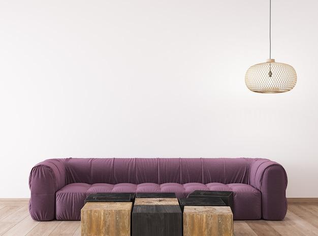 Design escandinavo de sala de estar, design de interior claro