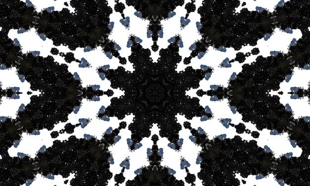 Design escuro horizontalmente sem costura. cópia ornamentada do ornamento étnico do fundo da telha. estilo oriental preto e branco. textura escura. efeito caleidoscópio brilhante. estampa floral. desenho floral