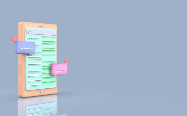 Design fofo bate-papo ilustração mídia social smartphone renderização 3d