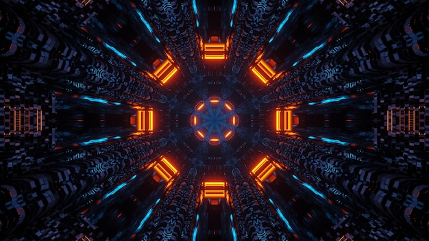 Design futurista de mandala octógono de ficção científica com luzes neon azul e laranja