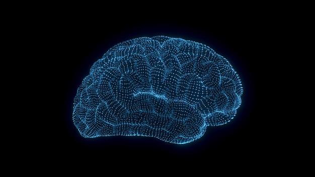 Design gráfico de animação 3d do cérebro e do tronco cerebral. animação 3d do cérebro humano. pesquisa médica da atividade cerebral. aprendizado profundo, ia e renderização 3d com tecnologia moderna.
