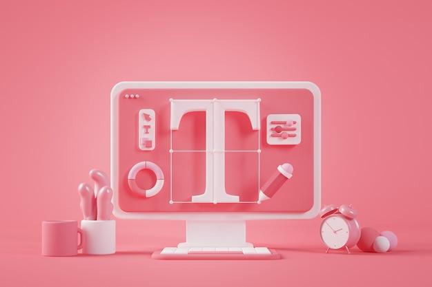 Design gráfico desktop 3d rendering