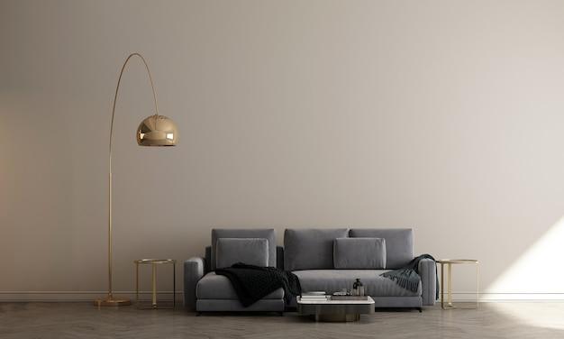 Design interior aconchegante e minimalista da sala de estar e fundo bege com padrão de parede, renderização em 3d