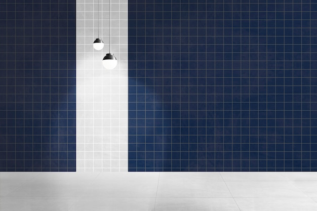 Design interior autêntico de sala azul vazia
