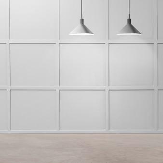 Design interior de um quarto vazio moderno e luxuoso com lâmpadas de teto