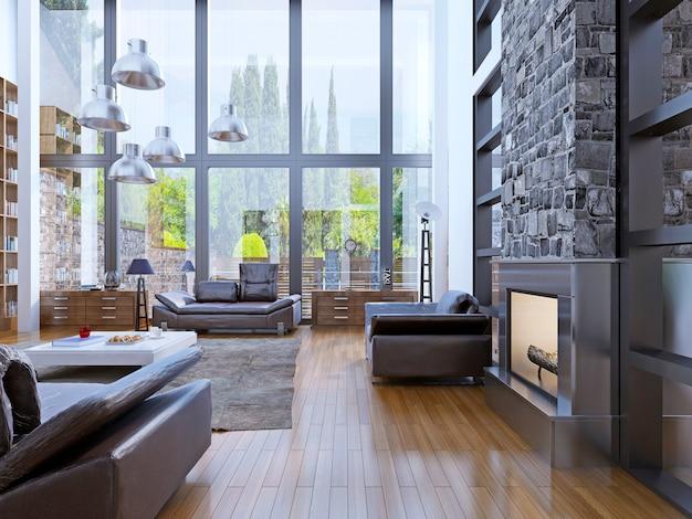 Design interior do apartamento loft com janela com lâmpada cinza suspensa mesa baixa superior branca.