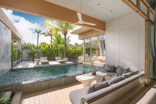 Design interior e exterior de villa luxuosa com piscina, casa, sala de estar com piscina