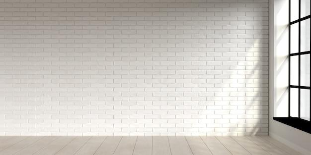 Design interior minimalista da cena da sala de estar com parede de tijolos brancos d render
