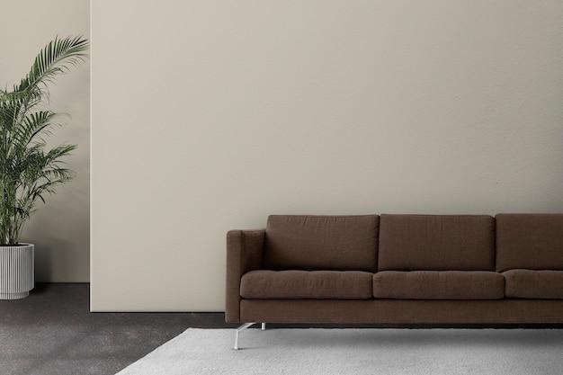 Design interior minimalista de sala de estar com sofá marrom
