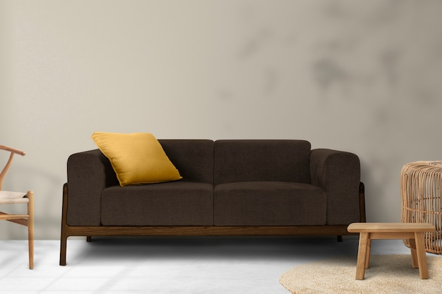 Design interior minimalista de sala de estar com sombra de folhas na parede