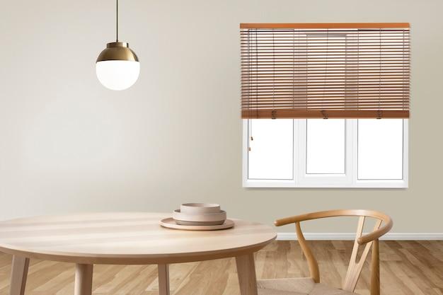Design interior mínimo autêntico de sala de jantar