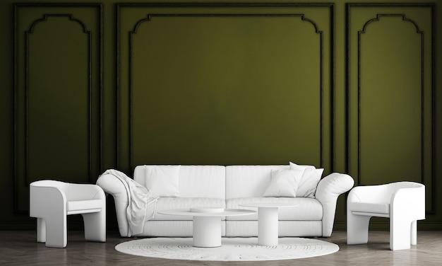 Design interior mínimo de sala de estar e fundo verde padrão de parede, renderização em 3d