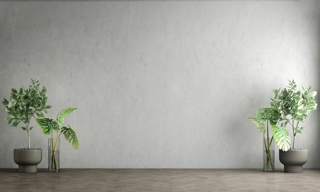 Design interior mínimo e sala de estar vazia e parede de concreto vazia