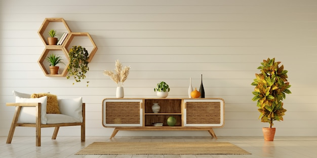 Design interior moderno da sala de estar com móveis de madeira e prateleiras hexagonais na parede de madeira branca, renderização em 3d