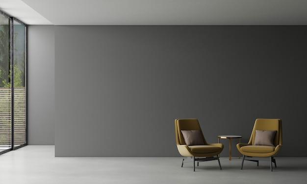Design interior moderno da sala de estar do loft e fundo preto na parede