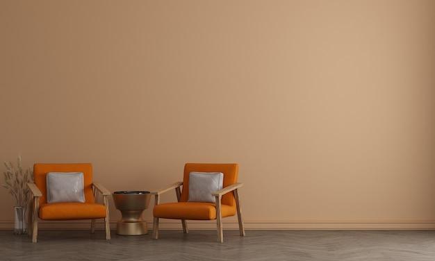 Design interior moderno da sala de estar, sala de estar e fundo bege com padrão de parede, renderização em 3d