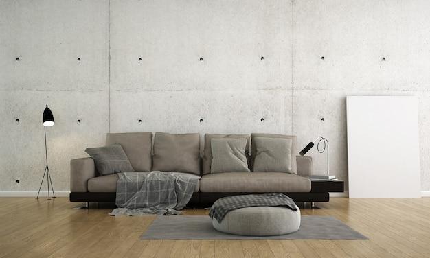Design interior moderno de loft de salão e sala de estar e sofá de couro e mesa lateral e parede de concreto vazia, renderização em 3d,