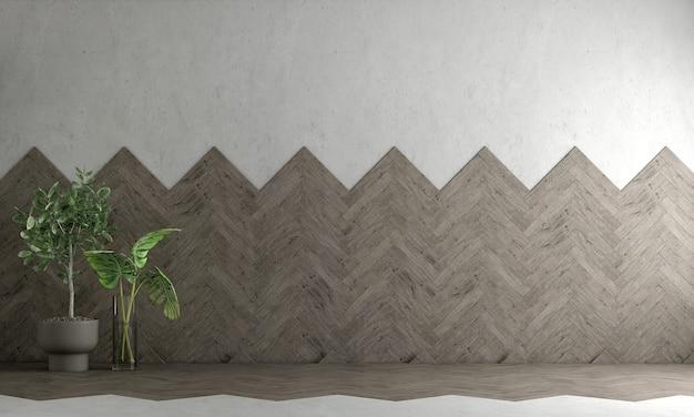 Design interior moderno de loft e sala de estar vazia e parede de concreto vazia