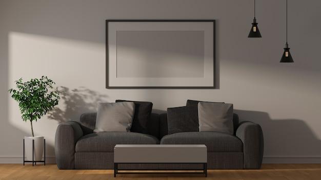 Design interior moderno de sala de estar com sofá, mesa de centro, planta de quadro de lâmpada e outras decorações