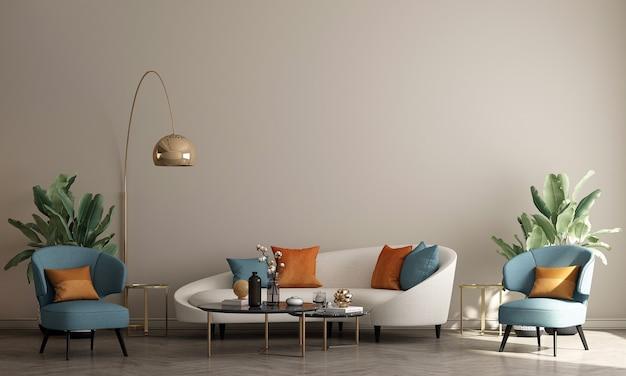 Design interior moderno de sala de estar e fundo bege de parede padrão, renderização em 3d