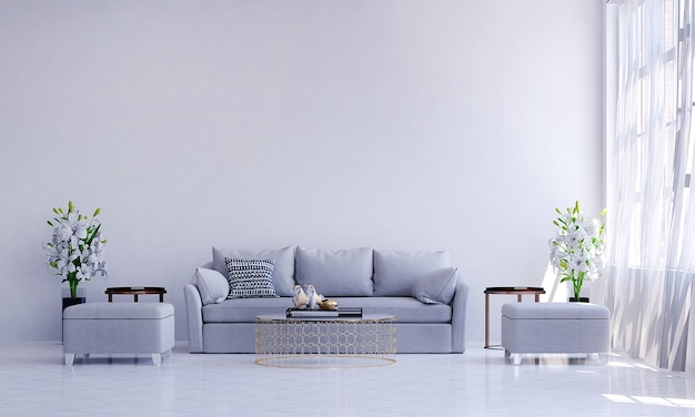 Design interior moderno de sala de estar e parede branca