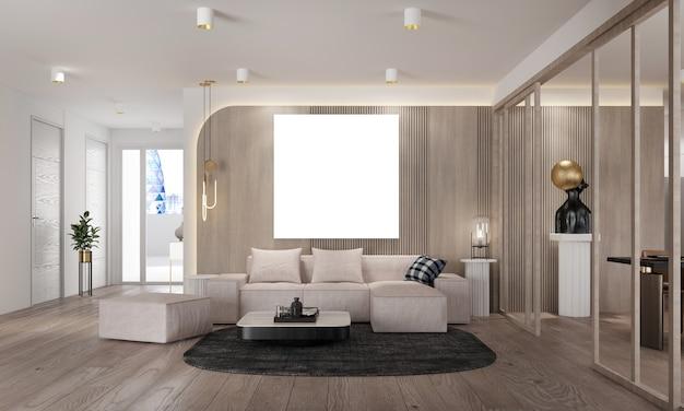 Design interior moderno de sala de estar e sala de jantar e árvore de natal e textura de parede de madeira